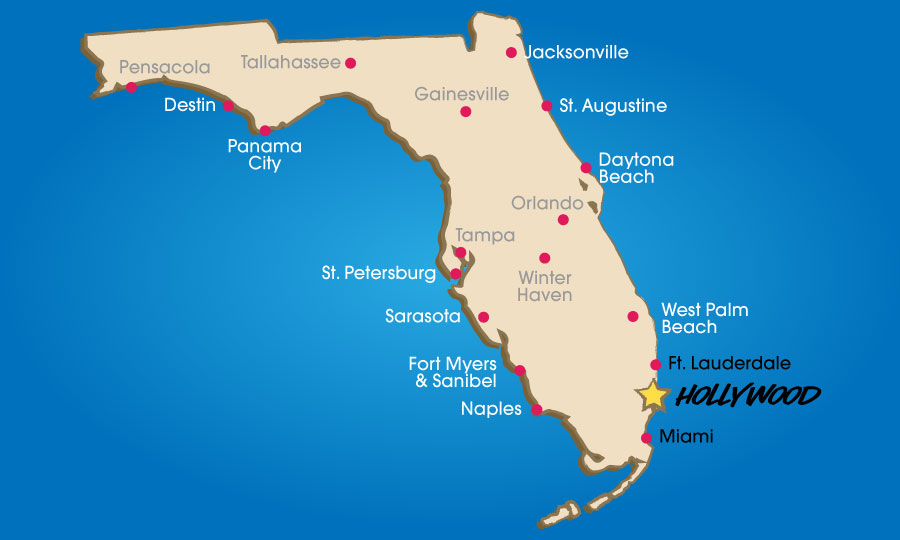 Map Of Hollywood Florida HOME   Hollywood Florida Beach Vacations Planner